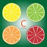 Orange, Kalk, Limon, Grenadinen-Vektor Stockbilder