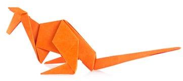 Orange kangaroo of origami Royalty Free Stock Photo