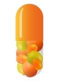 Orange Kapsel mit Früchten stockfoto