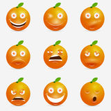 Orange Karikatur mit vielen Ausdrücken Stockbild