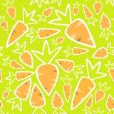 Orange Karotten des nahtlosen Musters auf einem Grün Stockfotografie