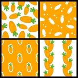 Orange Karotten-nahtlose Muster eingestellt Lizenzfreie Stockbilder