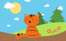 Orange katt med sommartid stock illustrationer