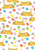Orange katt och rosa mus, seamless illustration Fotografering för Bildbyråer