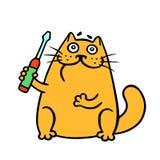 Orange Katze der Karikatur hält einen Schraubenzieher Auch im corel abgehobenen Betrag lizenzfreie abbildung