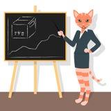 Orange Katze, die auf das Diagramm zeigt Lizenzfreies Stockbild