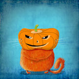 Orange Katze mit Kürbis-Kopf Stockbild