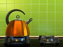 Orange kettle on the gas-stove. 3D rendering Royalty Free Stock Image