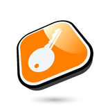 Orange key icon Stock Photography