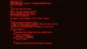 Orange Keylogger C++ kod på grafisk beståndsdelbakgrund för skärm stock video