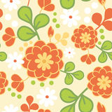 Orange kimono flowers seamless pattern background Stock Photos