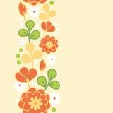 Orange kimono flowers vertical seamless pattern border Stock Photos
