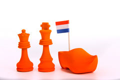Orange king and Queen. Symbolise the crowning of the dutch king and queeen Royalty Free Stock Photo