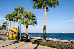 Orange kiosk on the promenade in Limassol Stock Image