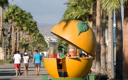 Orange kiosk on the promenade in Limassol Stock Photo