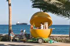 Orange kiosk on the promenade in Limassol Stock Images