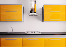 Orange kitchen 3d Royalty Free Stock Photography