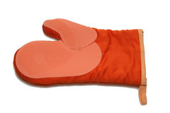 Orange kitchen glove. Isolated over white Royalty Free Stock Photography