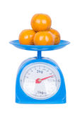 Orange on kitchen scale isolated on white background. With clipping path Stock Photography