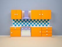 Orange kitchen Stock Image