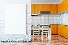 Orange kitchen with whiteboard Royalty Free Stock Photo