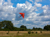 Orange kite on the cloudy sky and field background Royalty Free Stock Image