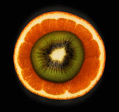 Orange and kiwi. Detail slice of orange and kiwi Stock Photo