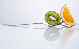 Orange and kiwi fruit composition Stock Images
