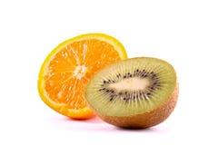 Orange and kiwi isolated Stock Photos