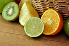 Orange, kiwi and lime Stock Photography