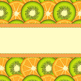 Orange and kiwi slice background with blank banner Royalty Free Stock Photos