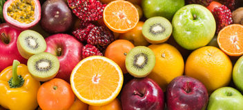Orange and Kiwi slice with various ripe fruits  for eating healt Royalty Free Stock Images