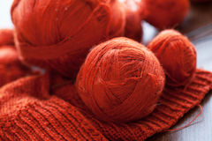 Orange knitwork with thread balls in a basket Stock Images