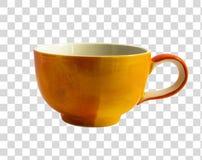 Orange kopp som isoleras på det genomskinliga lagret Arkivbilder