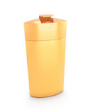 Orange kosmetische Verpackung, Plastikshampoo oder Duschgelflasche Stockbilder