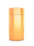 Orange kosmetiskt förpacka, plast- schampo eller duschen stelnar flaskan Arkivfoto