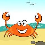 Orange Krabbe mit einem Lächeln am Nachmittag auf dem sandigen Strand Lizenzfreie Stockbilder