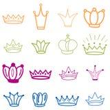 Orange kronor tiara Diademen skissar kronan Utdragen drottningtiara f?r hand, konungkrona Kungliga imperialistiska kr?ningsymbole vektor illustrationer