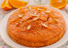 Orange Kuchen des strengen Vegetariers Stockbilder