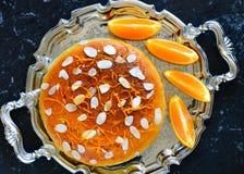 Orange Kuchen des strengen Vegetariers für Teatime Stockbild