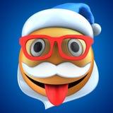 orange Lächeln des Emoticon 3d mit Weihnachtshut stock abbildung