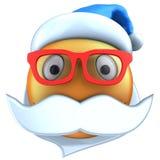 orange Lächeln des Emoticon 3d mit Weihnachtshut vektor abbildung