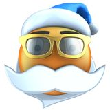 orange Lächeln des Emoticon 3d mit Weihnachtshut lizenzfreie abbildung