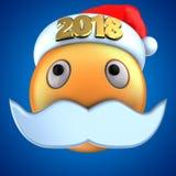 orange Lächeln des Emoticon 3d mit Weihnachtshut 2018 lizenzfreie abbildung