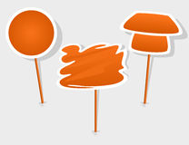 Orange label with stick Royalty Free Stock Image