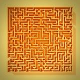 Orange labyrintstruktur för tappning 3d med karaktärsteckning Arkivfoto
