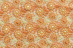 Orange lace on white background. No any trademark or restrict matter in this photo.  Stock Image