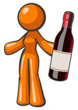 Orange Lady Holding Vintage Wine Bottle Large Stock Photography