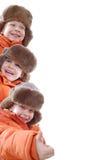 orange lagvinter för familj Arkivfoton