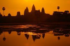Orange lake. Orange vista postcard veiw of the legendary temples of angkor wat siem reap cambodia Royalty Free Stock Photo